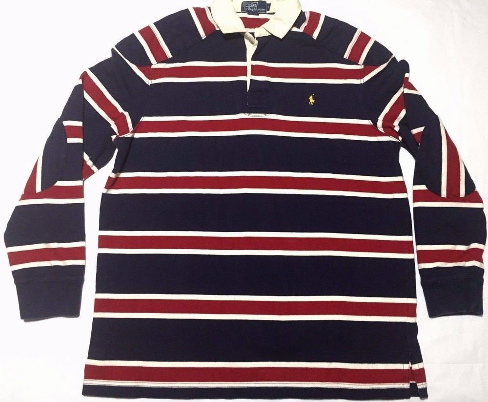 Vintage Polo Ralph Lauren Rugby Shirt Striped Padded Red White Blue Size L