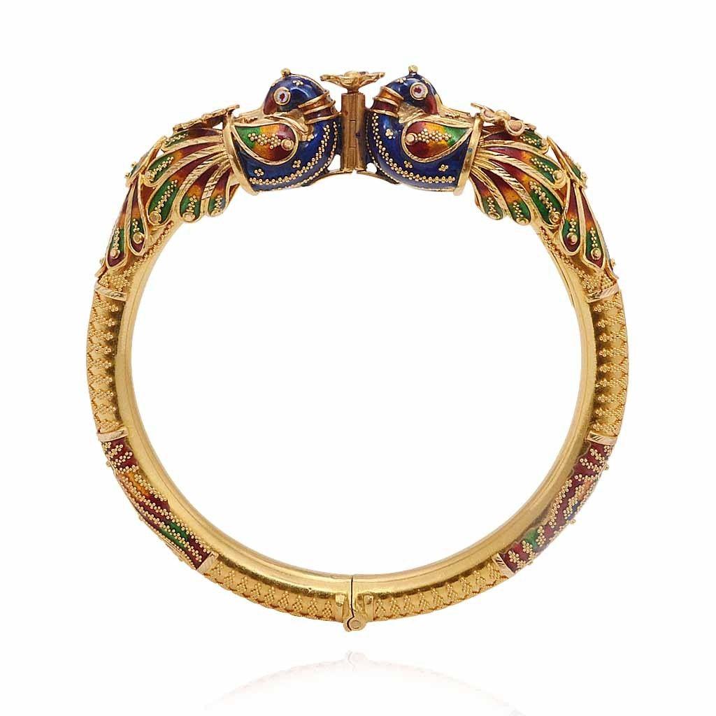 Bangles gold enamel peacock kada bangle grt jewellers bengali