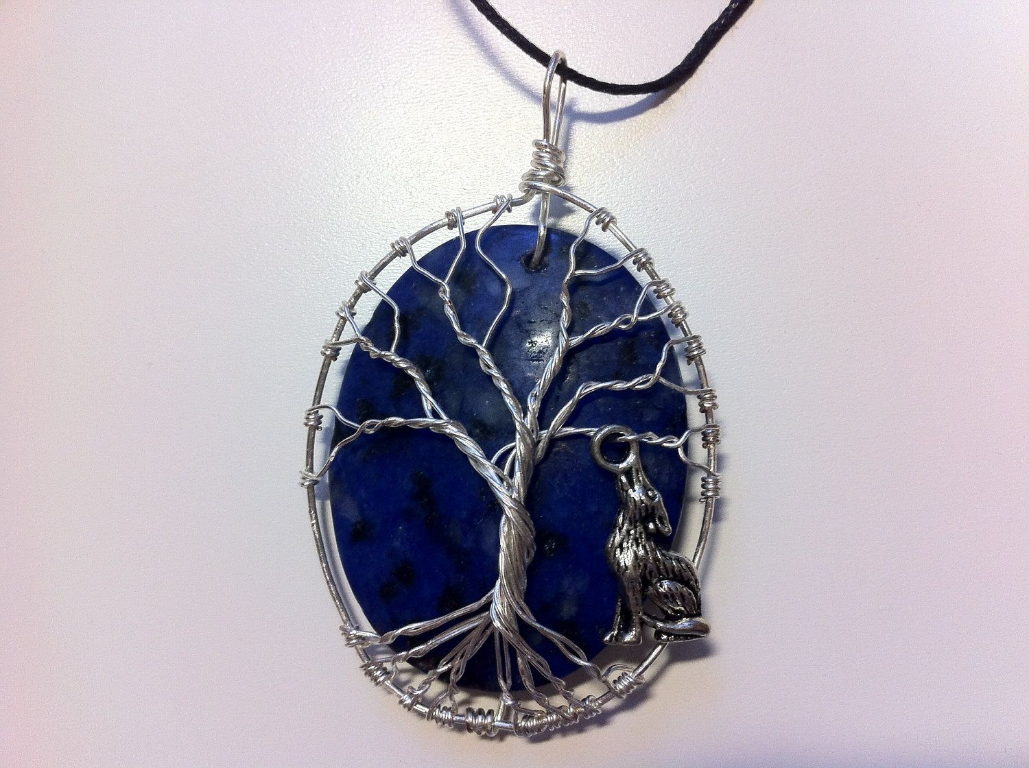 Wire wrapped stone tree of life with Wolf by pattyofurniture ...