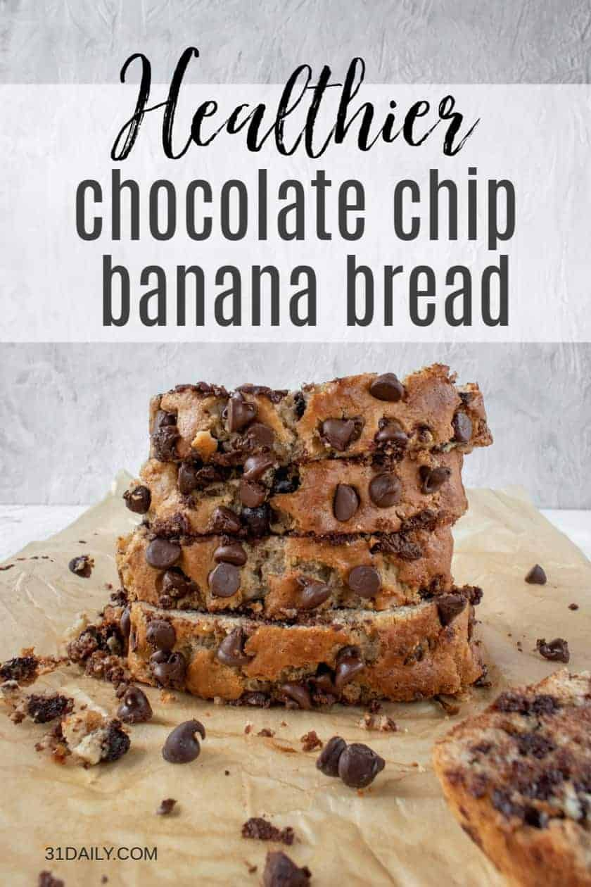 This Chocolate Chip Banana Bread Recipe Is Moist And Tender And Homey And Delicious Wi Chocolate Chip Banana Bread Healthy Chocolate Chip Banana Chocolate Chip
