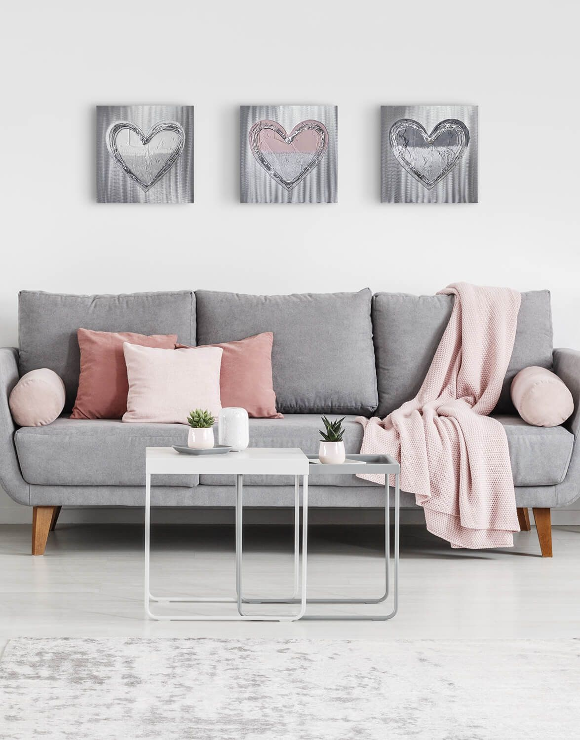 Dusky Pink Love Heart Set Silver Wall Art Contemporary Art Uk In 2020 Pink Living Room Decor Living Room Decor Gray Gray Living Room Design