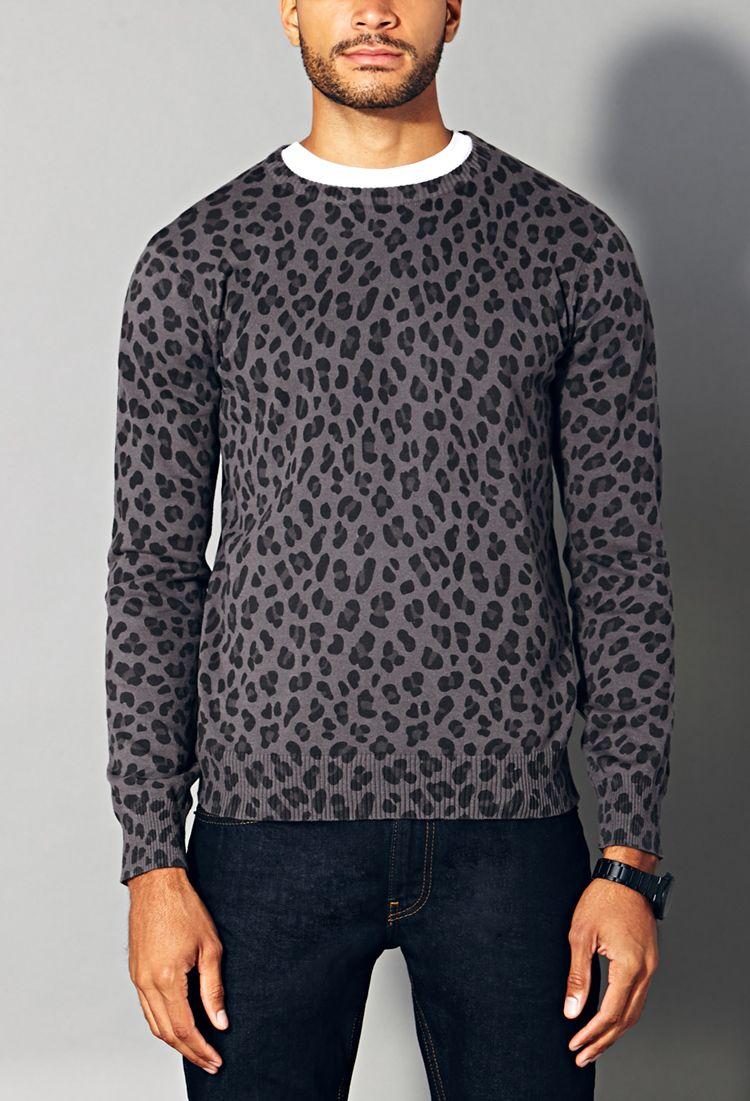 Leopard Crew Neck Sweater 21 Men 2000072453 Husband Fashion Sweater Fashion Sweaters [ 1101 x 750 Pixel ]