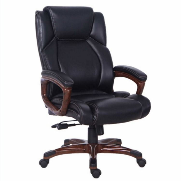 Qwork High Back Pu Leather Executive Office Chair Adjustable Recline And Ergonomic Design For Lumbar Support 1 Piece Carton