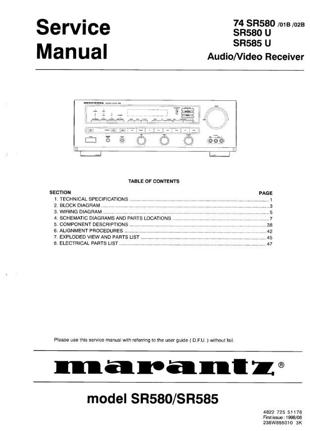 Marantz Sr585 Sr580 Audio Video Receiver Service And Repair Manual  This Is A Scanned