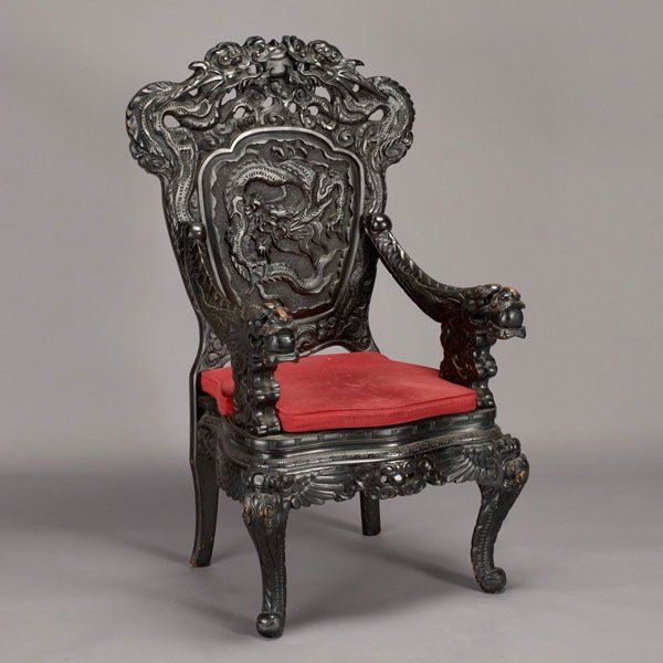 Chinese Carved Chair | 415: Chinese Carved Rosewood Dragon Chair, 20th  Century : Lot - Chinese Carved Chair 415: Chinese Carved Rosewood Dragon Chair