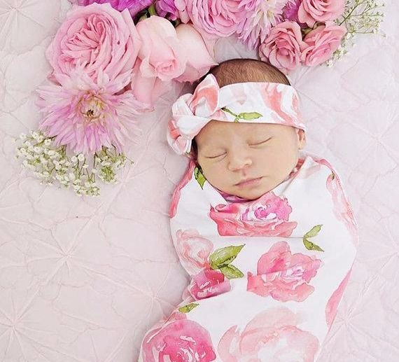 785a5463a Swaddle Blanket and Hat or Headband, baby swaddle, diy swaddle set, newborn  gift