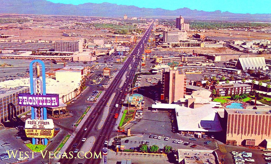 1968 aerial view of the north Strip The Frontier Silver Slipper