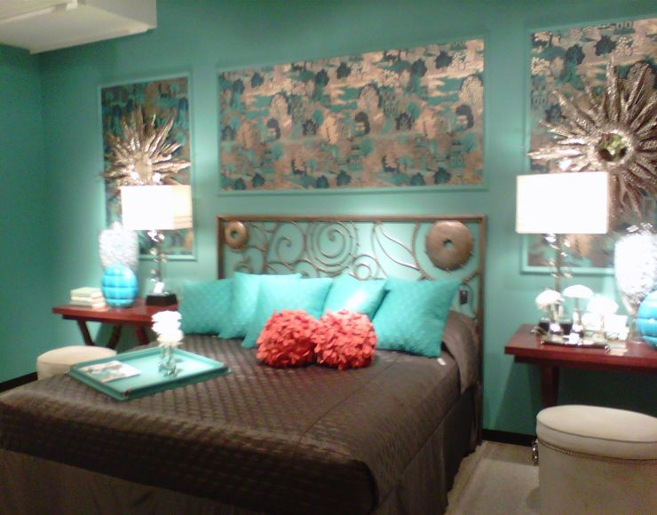 Awesome Turquoise Bedroom Walls Combined With Brown Bedsheet For