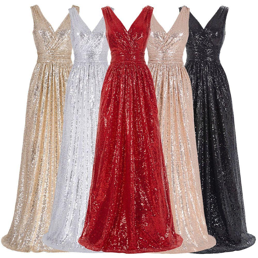 V neck long sequin glitter evening party dress formal prom