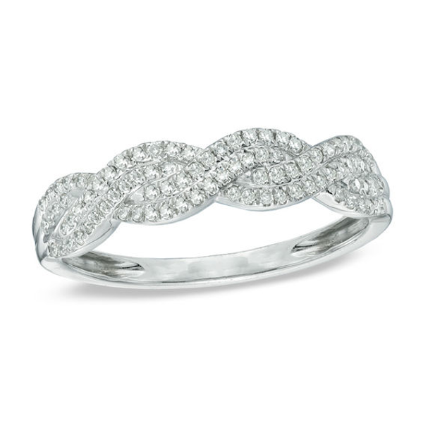 1/4 CT. T.w. Diamond Thick Braid Band in 10K White Gold