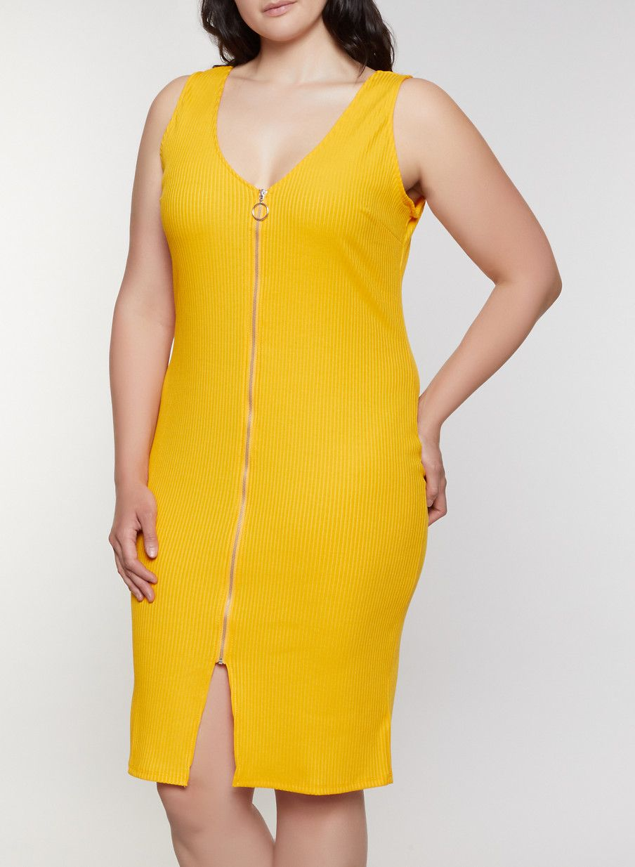 Plus Size Rib Knit Zip Front Dress - Yellow - Size 1X in ...