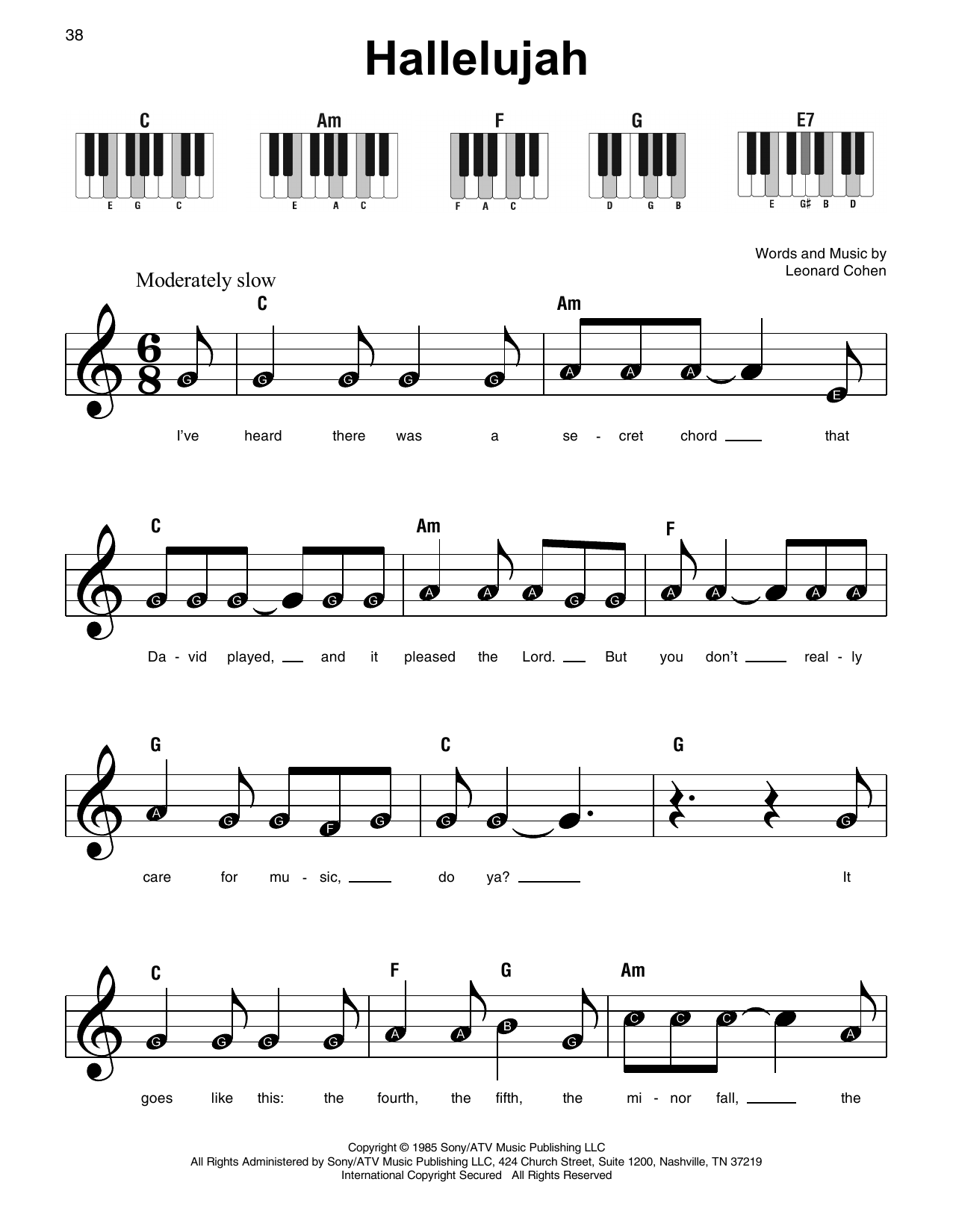 Hallelujah Sheet Music | Leonard Cohen | Super Easy Piano