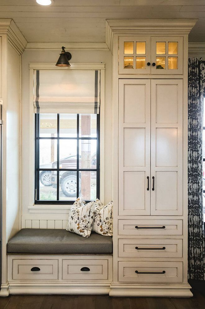 Glazed White Cabinets in Benjamin Moore White Dove with ...