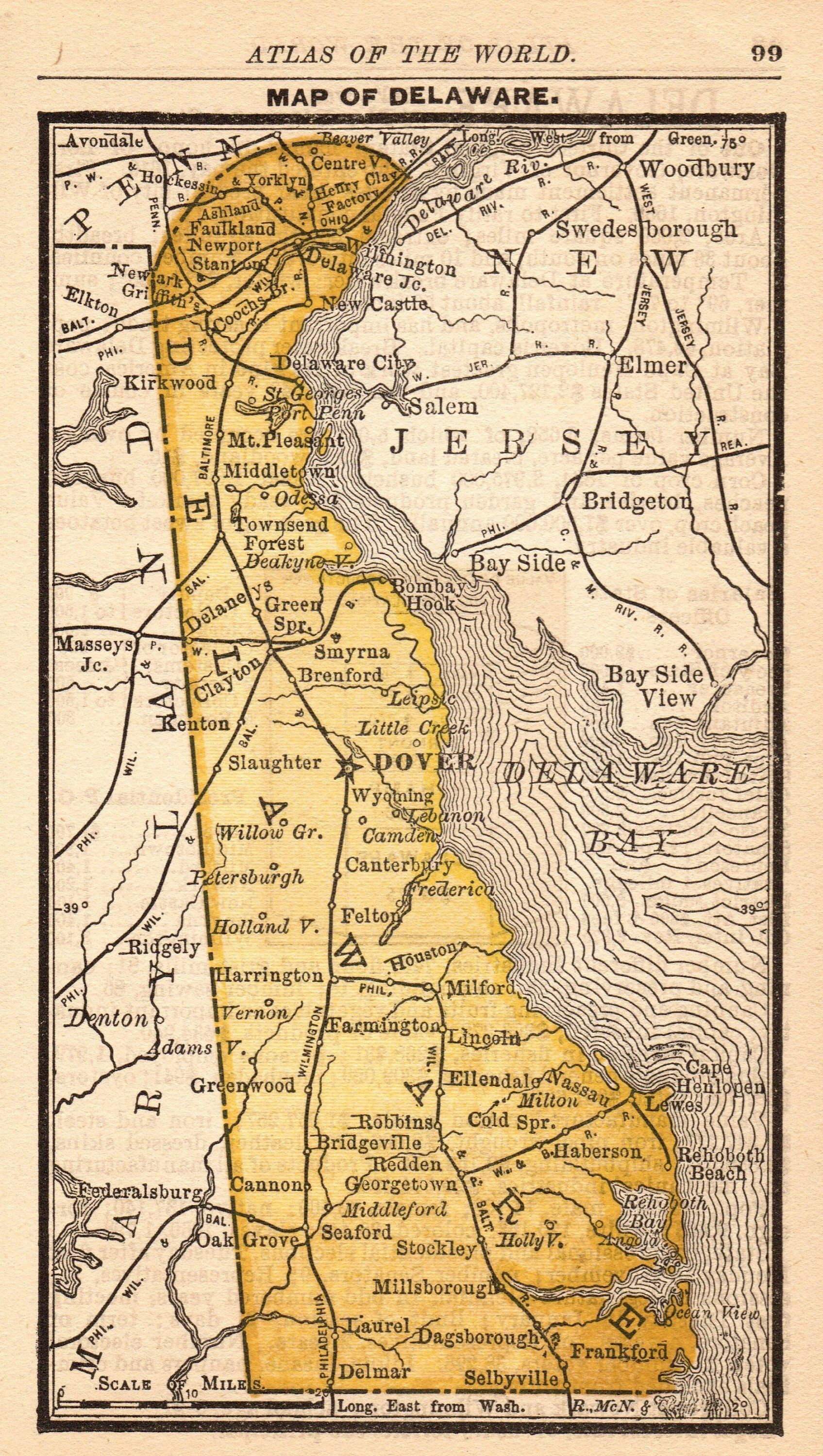 1888 Antique DELAWARE Map of Delaware State Map Rare MINIATURE Map ...