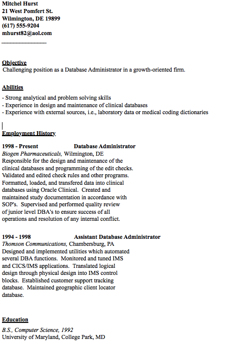 Example Of Database Administrator Resume  HttpResumesdesign