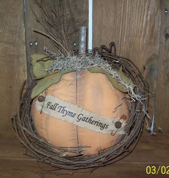 Primitive Large Orange Pumpkin With Banner By