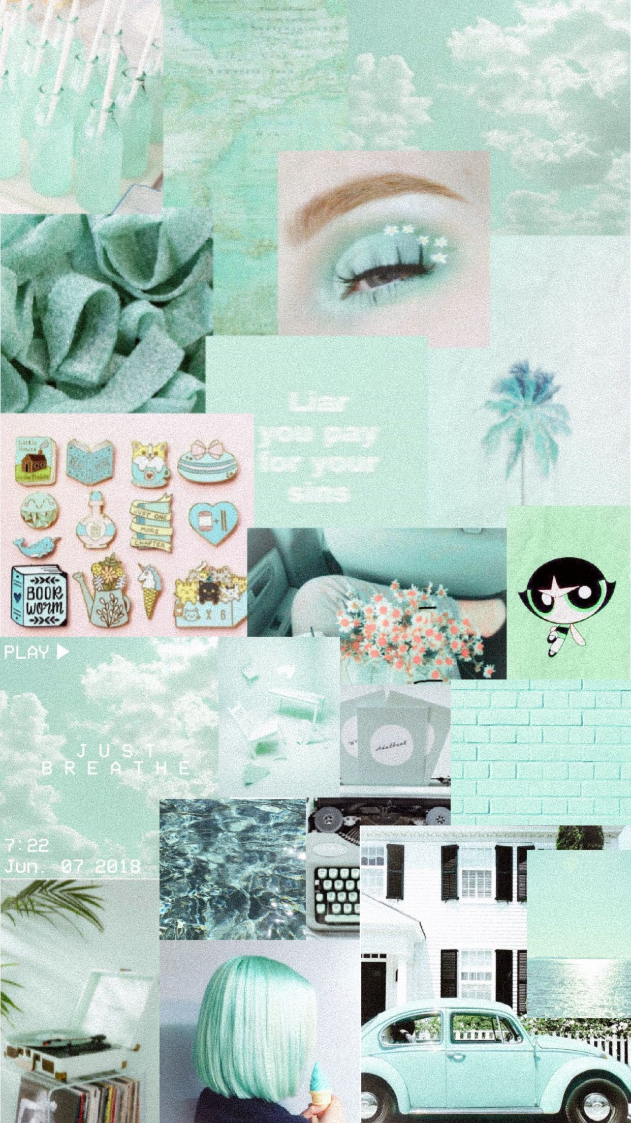 Aesthetic Mint Green Background In 2020 Iphone Wallpaper Tumblr Aesthetic Aesthetic Pastel Wallpaper Mint Green Aesthetic