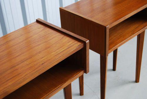 A Teak Bedside Side Table Retro Danish Parker Featherston Style Ebay Teak Bedside Table Bedside Side Tables Side Table