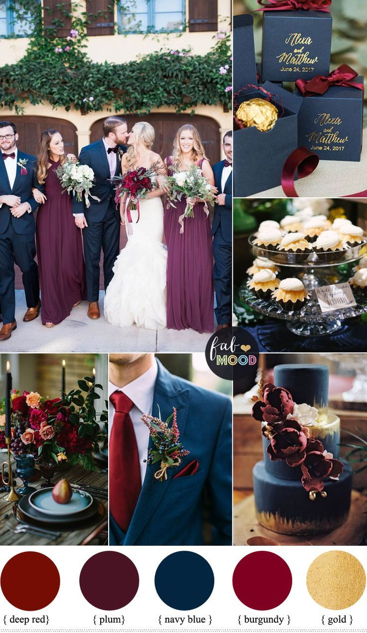 Plum burgundy and navy blue wedding with gold accents for fall