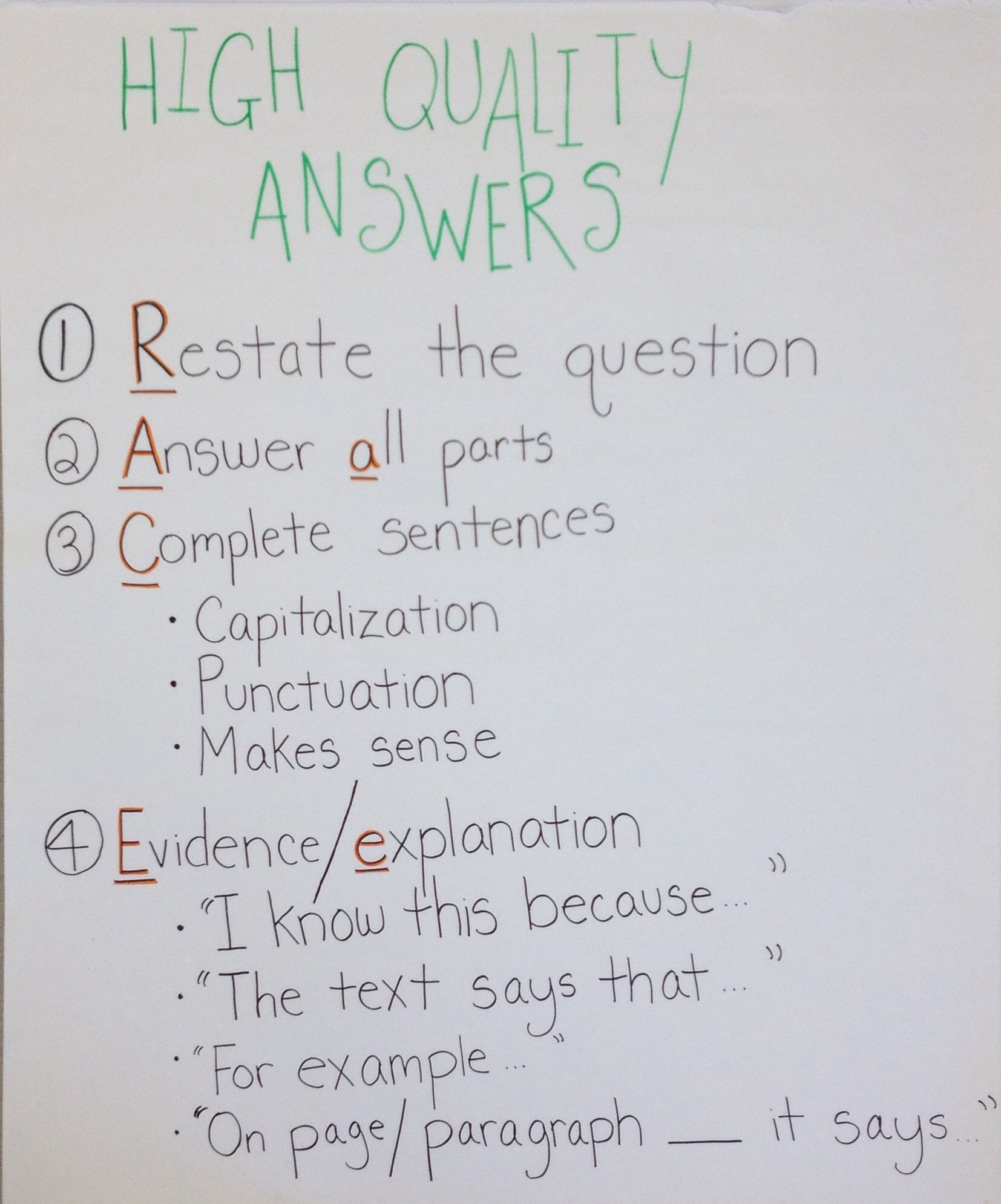 High quality answers anchor chart: RACE. Restate, answer