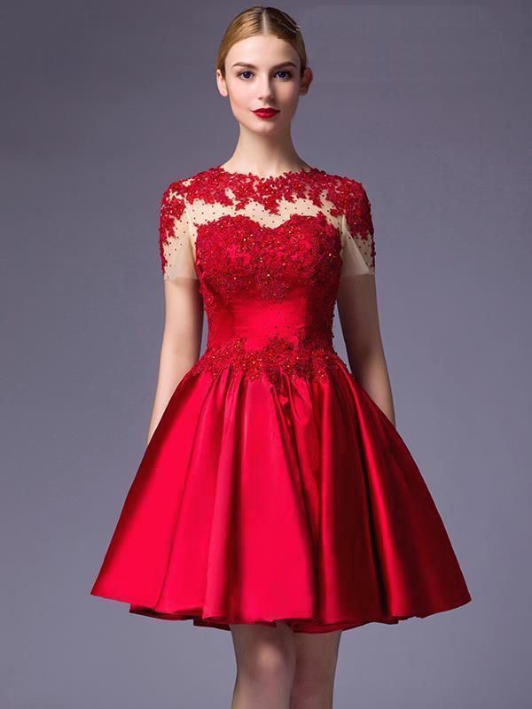 Hay Eventos Como Una Boda Una Cena Elegante O Un Coctél Donde Podemos Vestir De Gran Gala Pero Quer Red Lace Prom Dress Red Prom Dress Red Homecoming Dresses