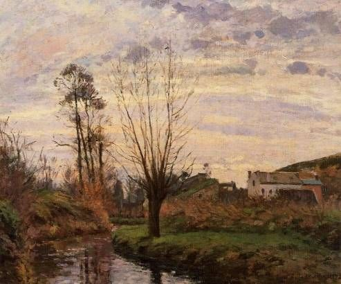 Landscape with Small Stream - Camille Pissarro - Oil Painting Reproduction