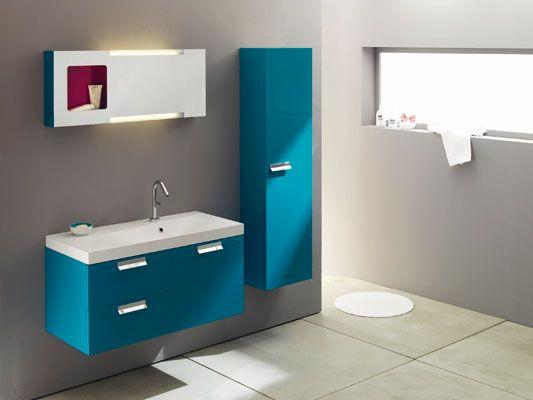 meuble salle de bain bleu canard