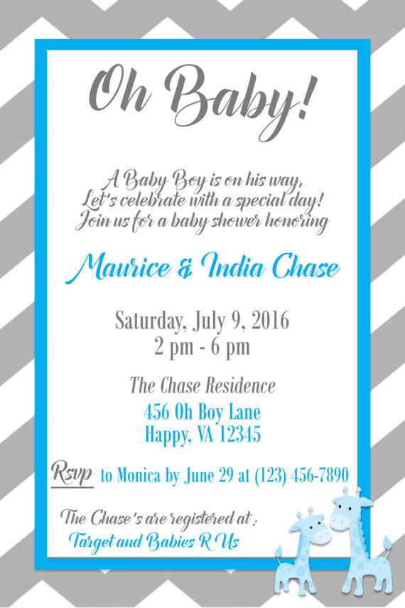 OH BABY! Blue Grey and White Chevron Baby Shower Invitation ...