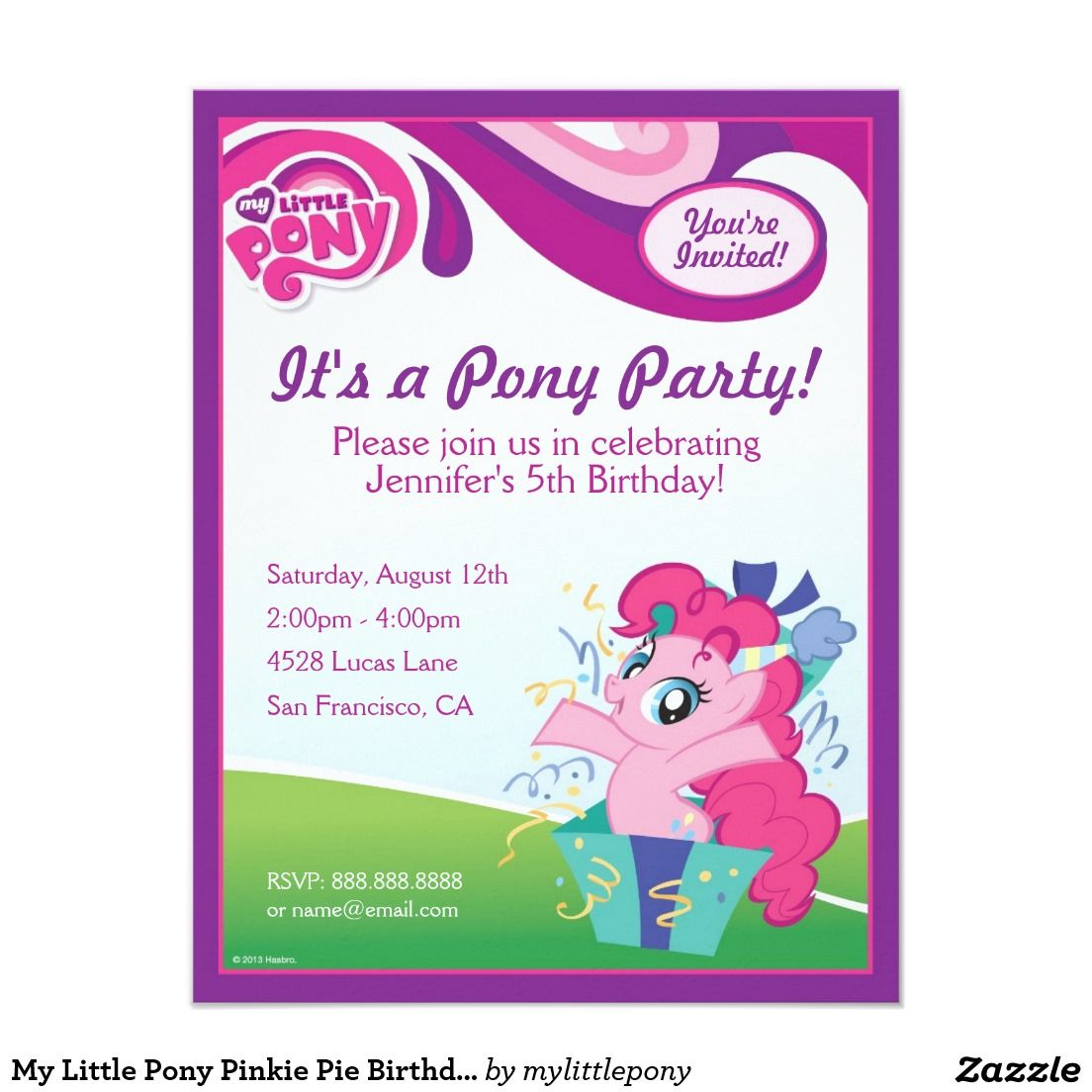 My Little Pony Pinkie Pie Birthday Party Invitation   Party Ideas ...
