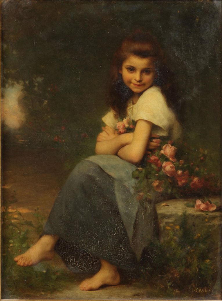 Jules Cyrille Cavé - Young girl with roses