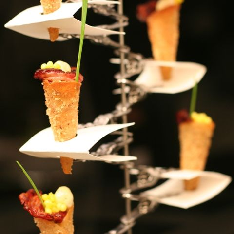 Eggs Benedict, cool way to display cones!