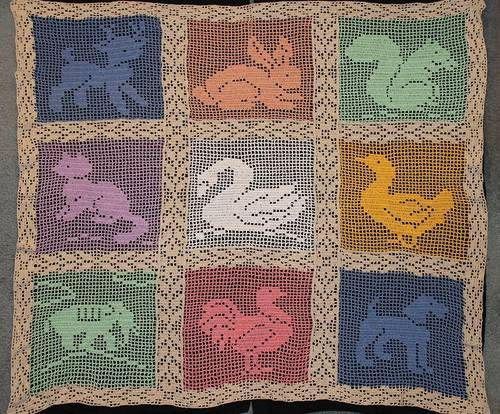 Hiddleson Baby Animals Filet Crochet Afghan Crochet