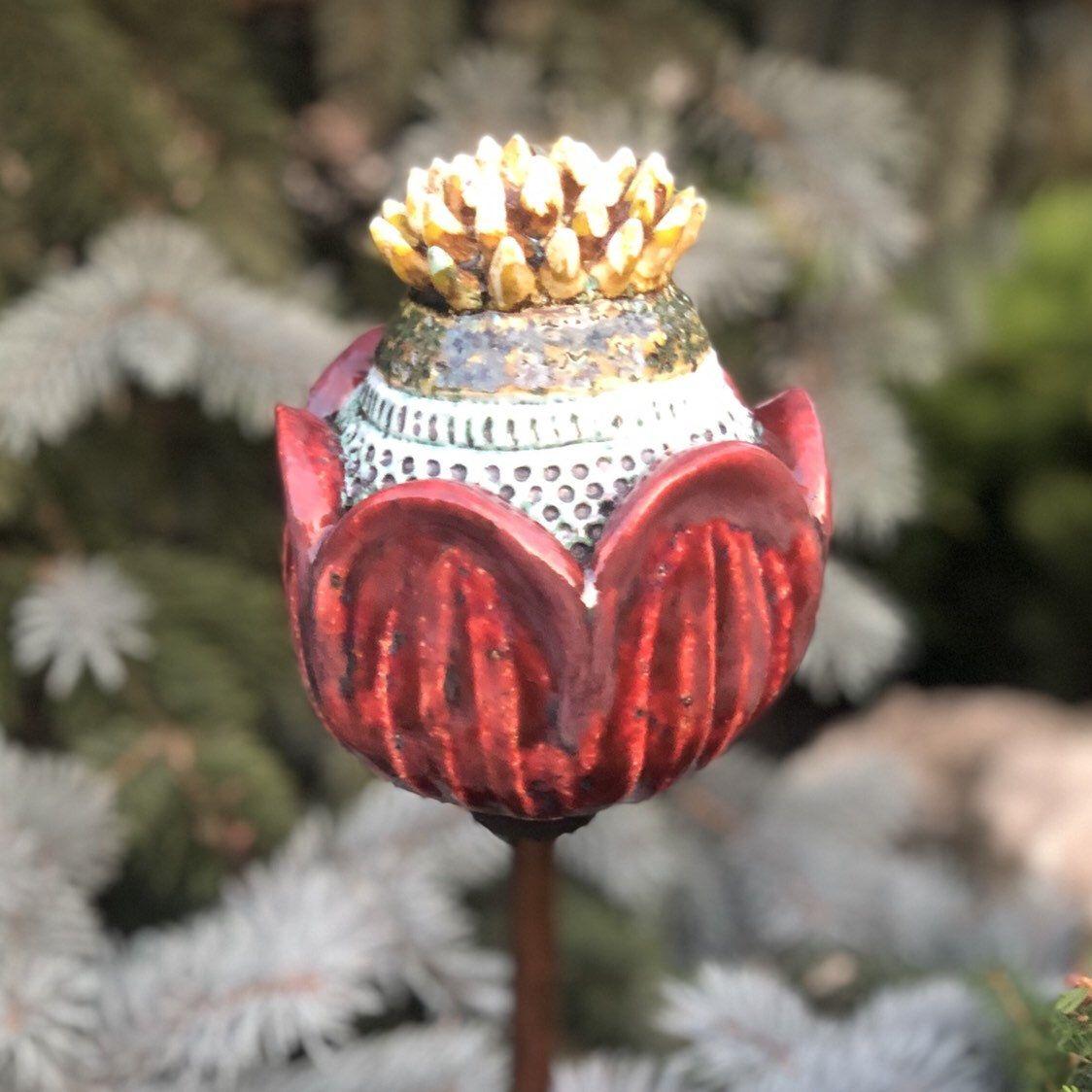 Garden sculpture, Flower garden stake, Garden stakes, Garden art, Yard art, Garden decor, Ceramic flower, Outdoor sculpture, Folk Art Flower