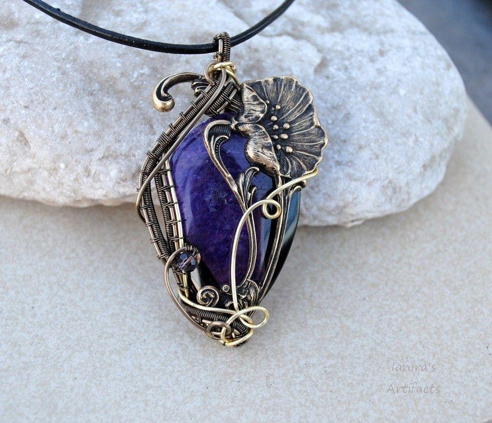Art Nouveau wire wrapped pendant by IanirasArtifacts on deviantART