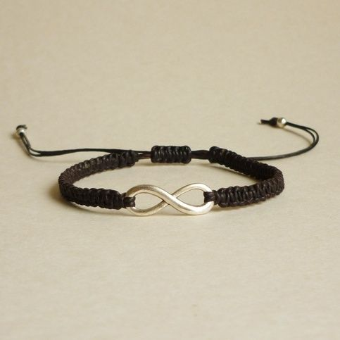 Silver Tone Infinity Charm Black Friendship Bracelet With Adjustable Style - Gift For Him - Gift Under 15 from Allcraftsharing