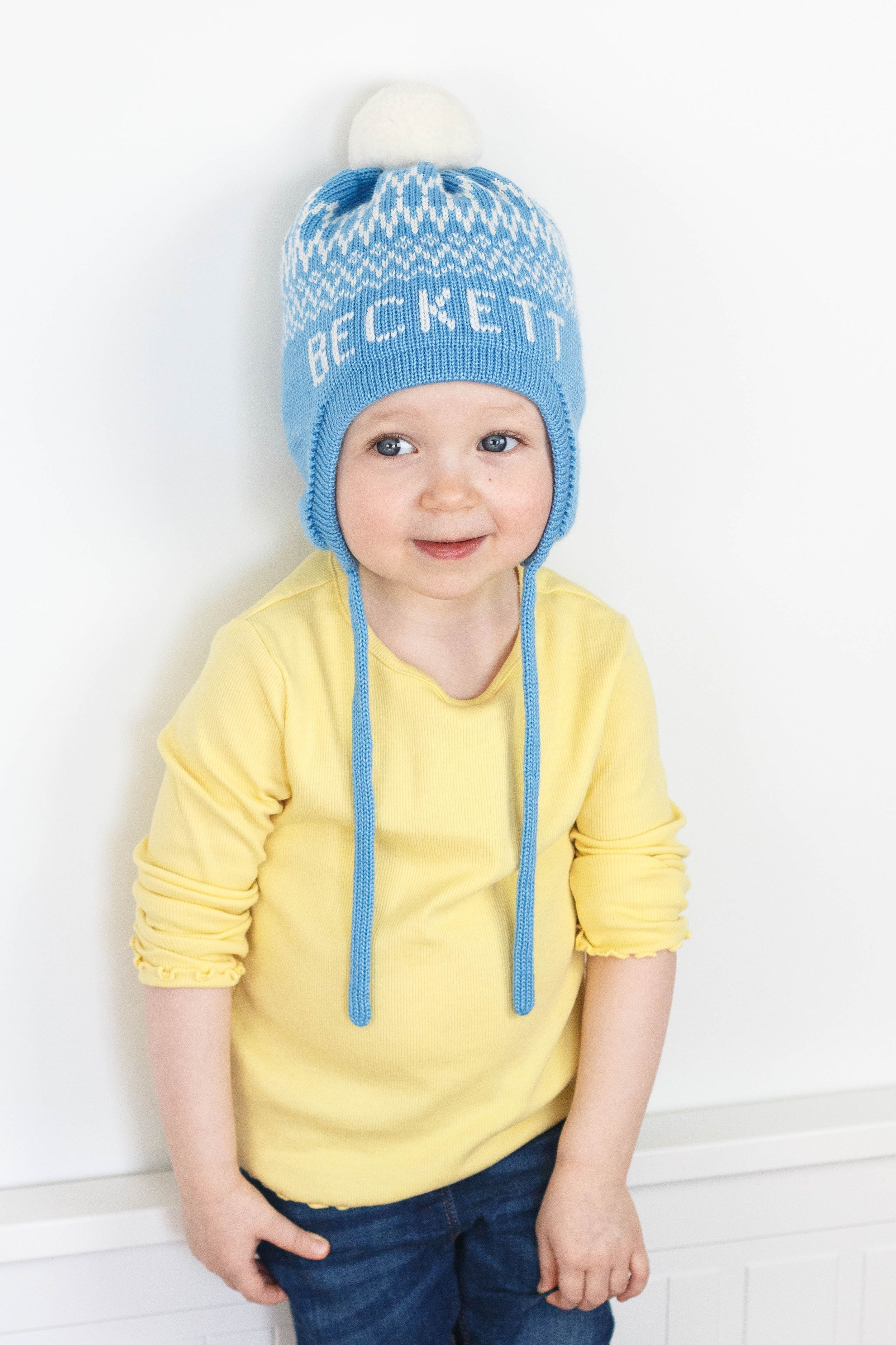 Personalized Ear Flap Beanie With Pom Pom For Boys And Girls Custom Toddler Kids Knit Winter Hat With Name Ear Flap Hats Knitted Hats Kids Kids Winter Hats