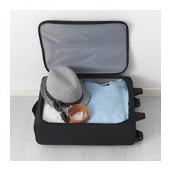 $14.99 Carry-on bag IKEA.  Easy to store .. fold it entirely flat when you are not using it.