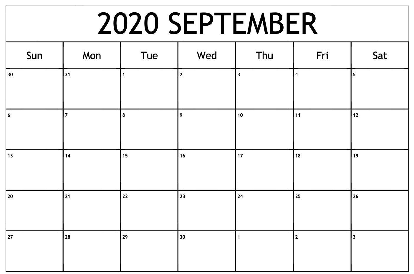 September 2020 Calendar Printable Template In Pdf Word Excel