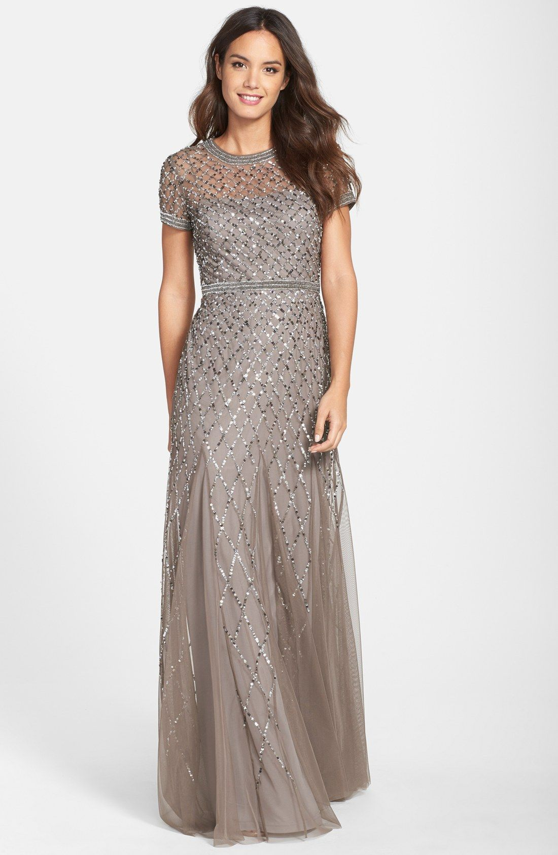 Beaded Mesh Gown Adrianna Papell Petite And Gowns