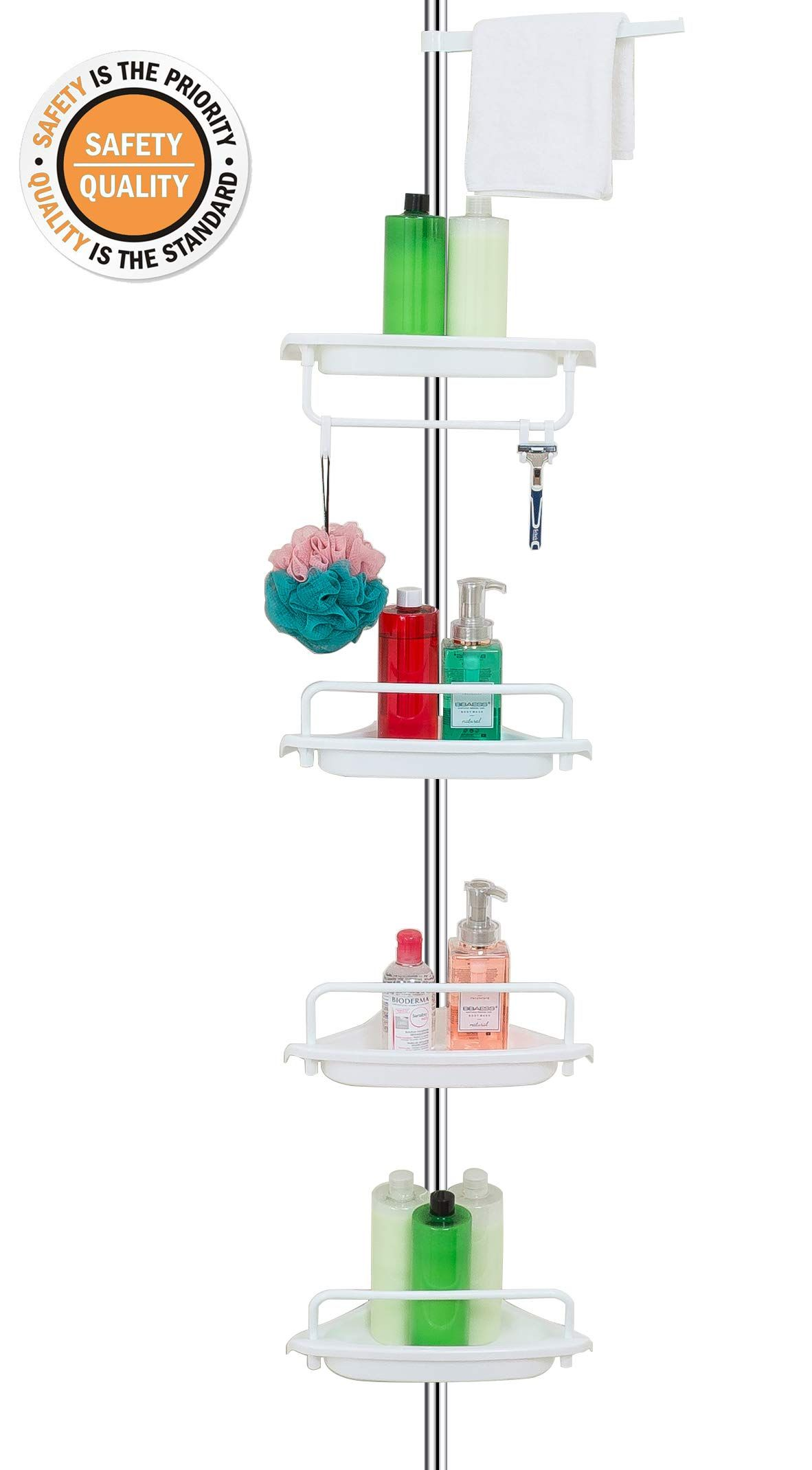 Allzone Constant Tension Corner Shower Caddy Stainless Steel Pole