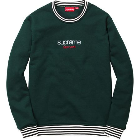 25df7903a24e Supreme Classic Logo Striped Rip Crewneck (Dark Pine) | On ...