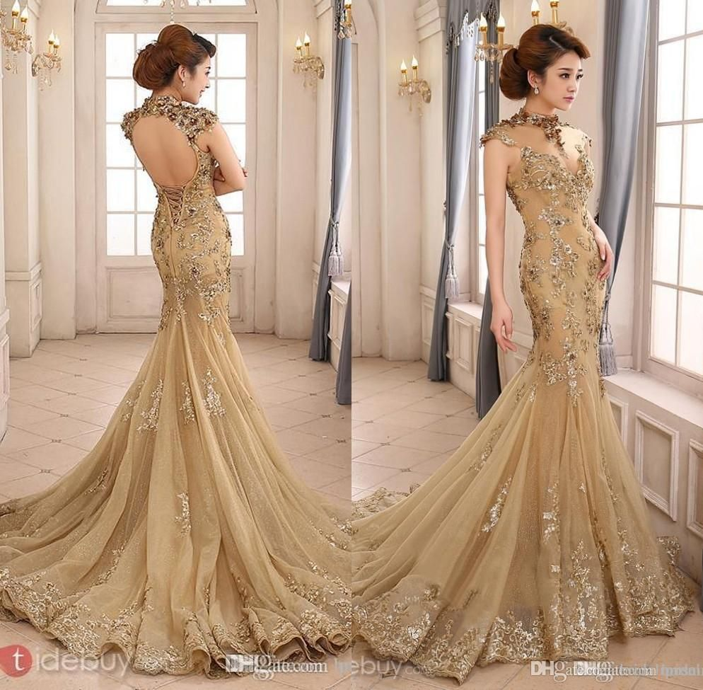 prom dresses party evening gowns high neck mermaid with capped