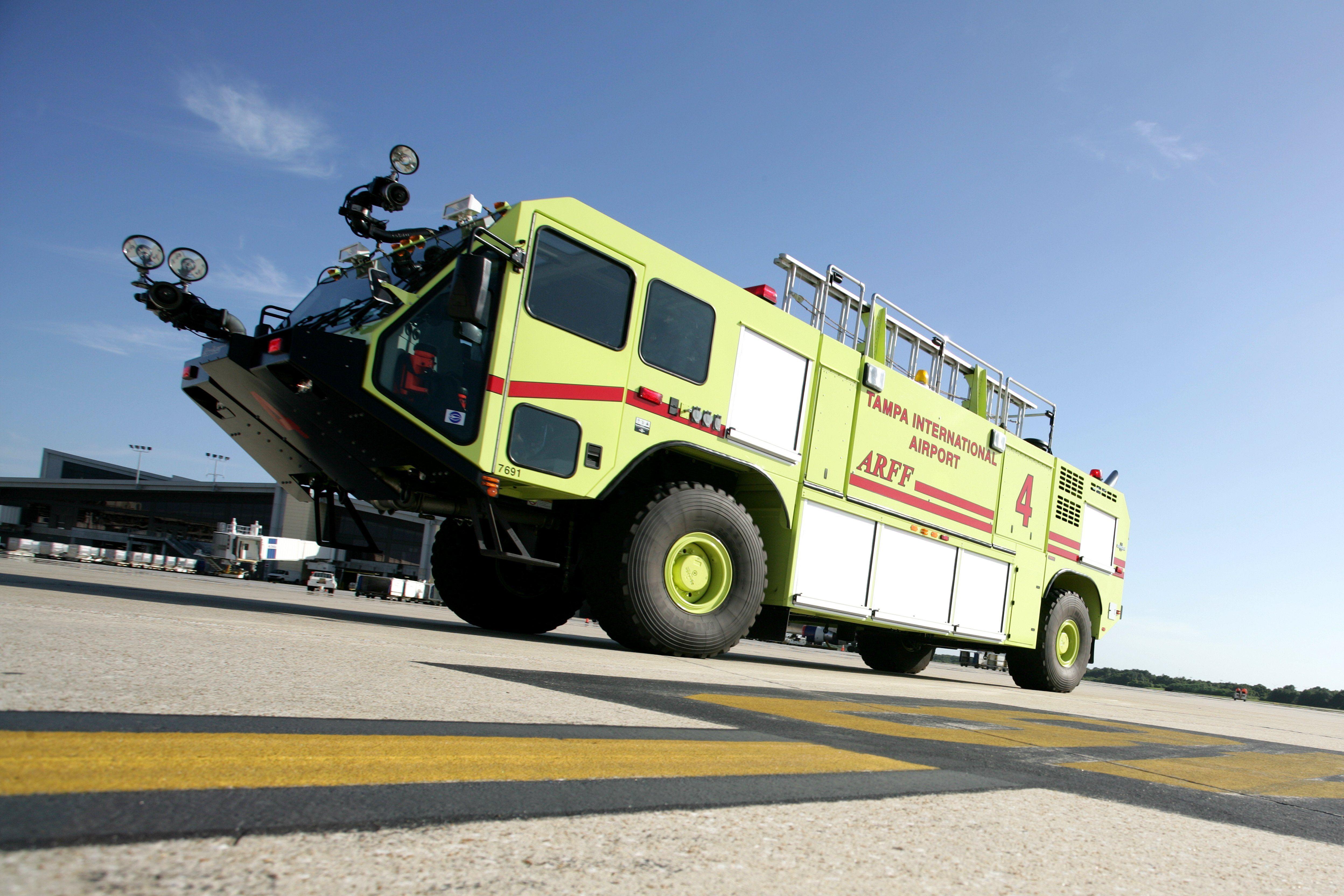 Tampa ARFF Truck on the tarmac in Florida. Fire trucks