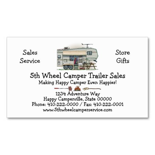 Cute rv vintage fifth wheel camper travel trailer business card cute rv vintage fifth wheel camper travel trailer business card templates make your own business card with this great design all you need is to add your reheart Image collections