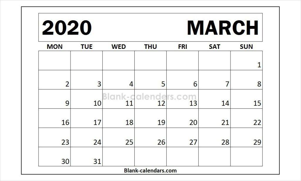 Month Of March 2020 Calendar Template Calendar Template 2021 Calendar Words