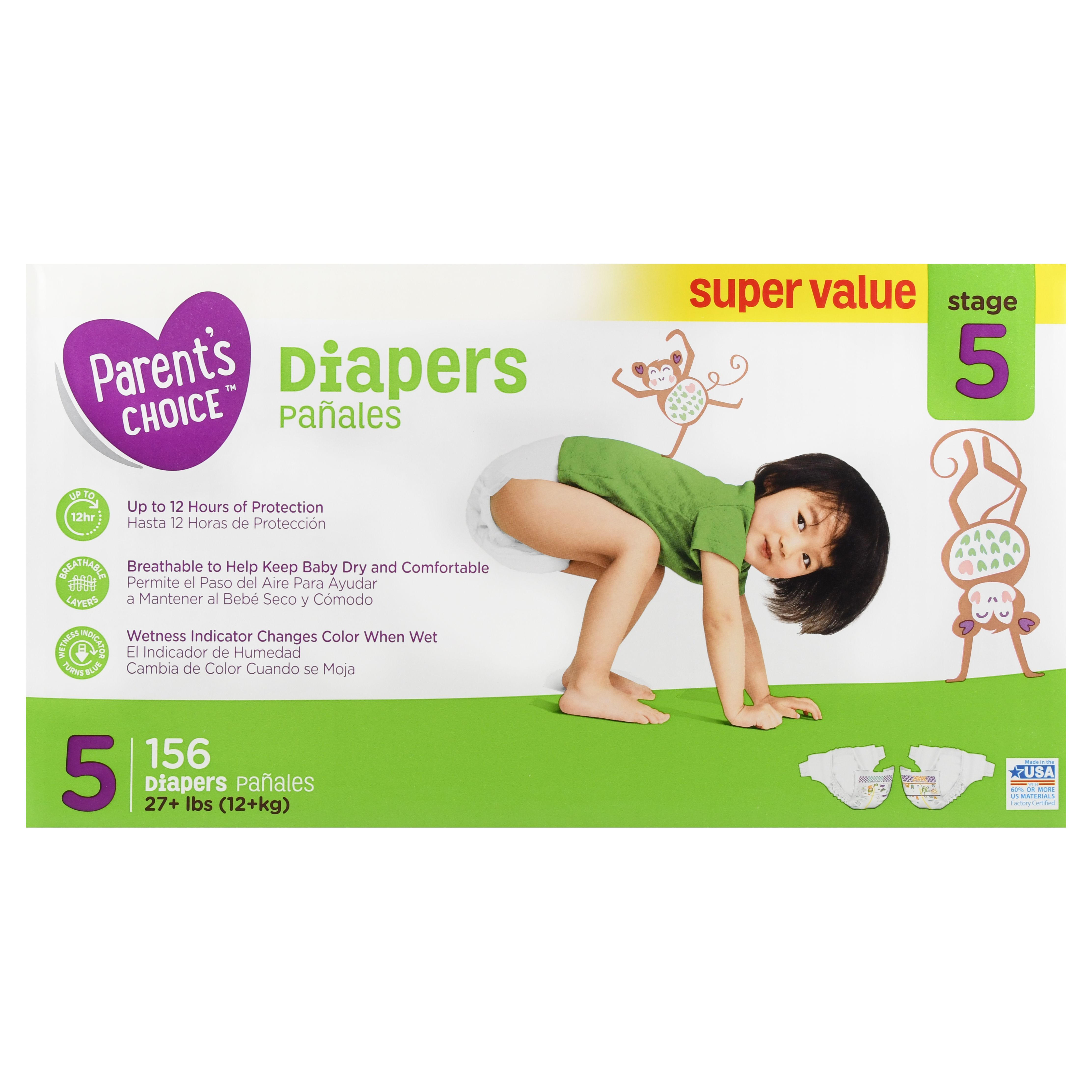 Parent S Choice Diapers Size 5 156 Diapers Walmart Com Parents Choice Diapers Parents Choice Diaper