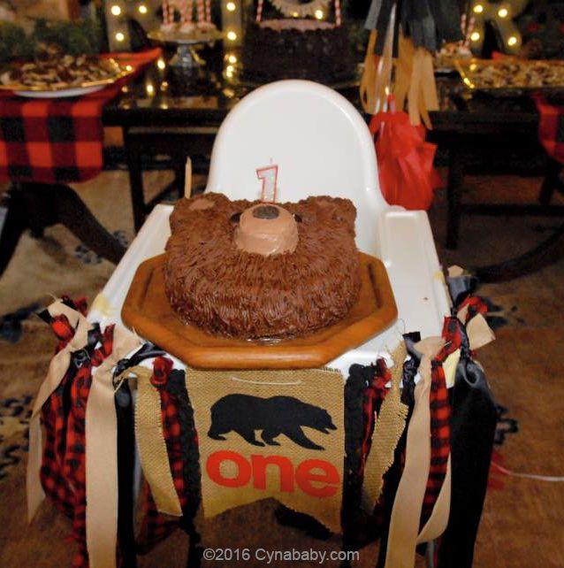 Diy Bear Cake Lumberjack Theme 1st Birthday Party