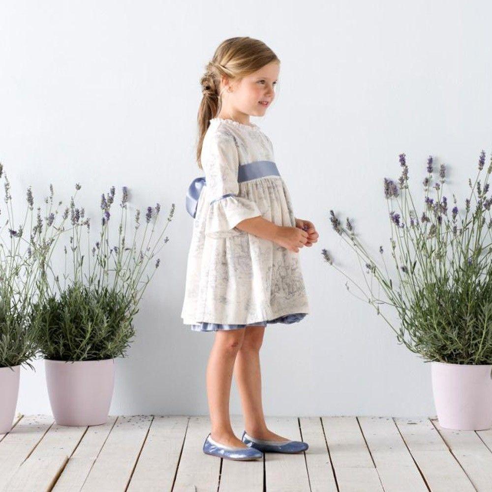 Ivory Cotton Dress with Grey Toile Print , Nanos, Girl