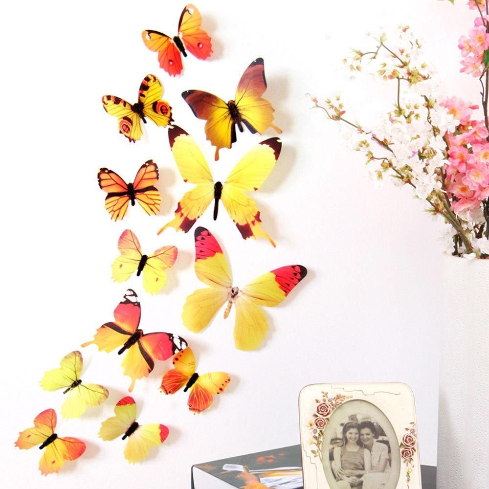 12pcs 4 Colored 3D Rainbow Butterfly Wall Home Decor Decal Stickers ...