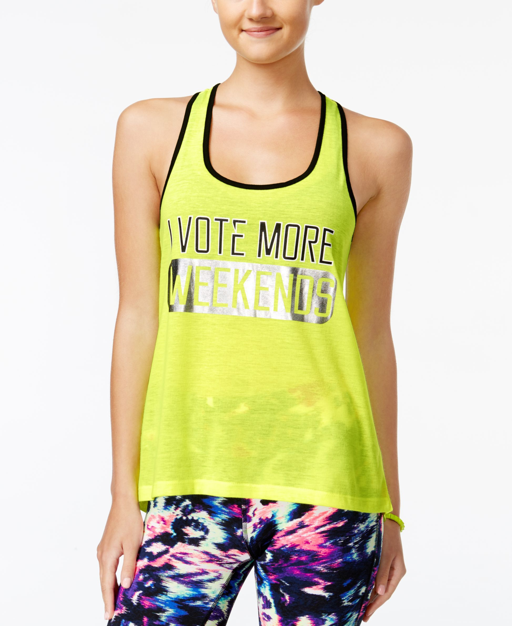 Material Girl Active Juniors' Graphic Racerback Tank Top, Only at Macy's